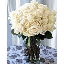 25 Long Stem White Roses: Same Day Flower Bouquet Delivery in USA