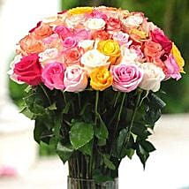 36 Multicolor roses in Vase: Order Flowers San Diego