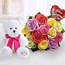 Assorted Roses For Romance: Send Soft Toys to USA