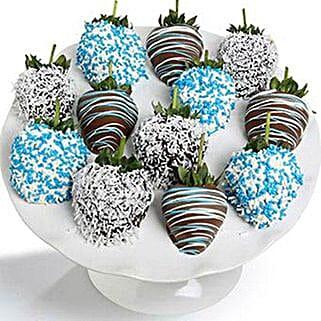 Baby Boy Chocolate Covered Strawberries 12 Pieces: Anniversary Chocolates to USA