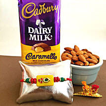 Cadbury Caramello Rakhi Combo: Rakhi to Boston