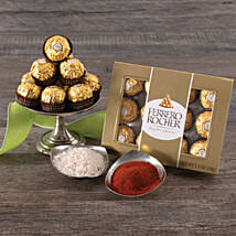 Ferrero Rocher Chocolates With Roli And Chawal: Gift Basket Delivery in USA