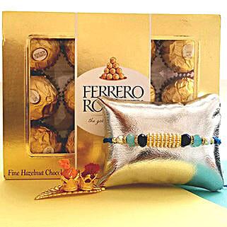 Ferrero Rocher With Designer Rakhi: Send Rakhi to Sunnyvale