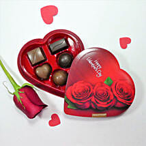Heart Shaped Box Of Chocolates With Rose: Valentine Gifts to Los Angeles