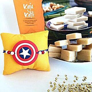 Kaju Barfi Superhero Rakhi Combo: Rakhi Delivery in USA