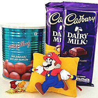 Mario Rakhi With Sweets: Rakhi for Kids to USA