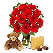 One Dozen Roses with Godiva Chocolates and Bear: Flower Delivery in USA