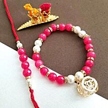 Pink Lumba Rakhi Set: Rakhi to Boston