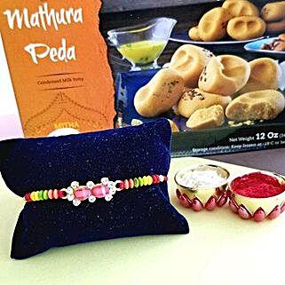 Rakhi And Peda Combo: Rakhi Delivery in USA
