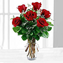 Six Red Roses In A Vase: Send Anniversary Flowers to USA