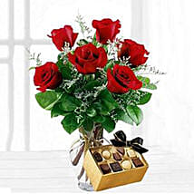 Six Red Roses With Chocolates: Rose Day Gift Delivery in USA