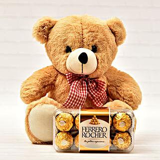 Teddy And Ferrero Rocher 16 Pcs: Send Chocolates to USA