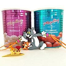 Tom And Jerry Rakhi With Sweets: Send Rakhi to Jersey